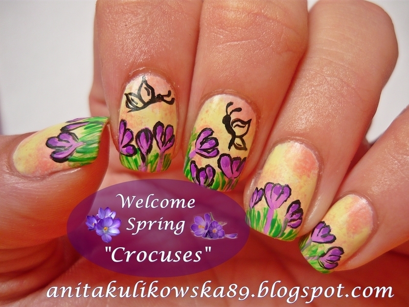 Welcome spring, welcome pretty crocuses :) nail art by Anita