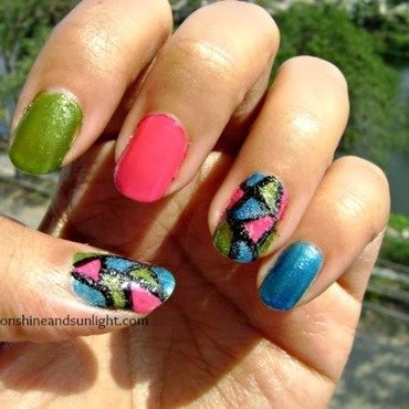 Tri color mosaic nail art  nail art by Priyanjana Roy
