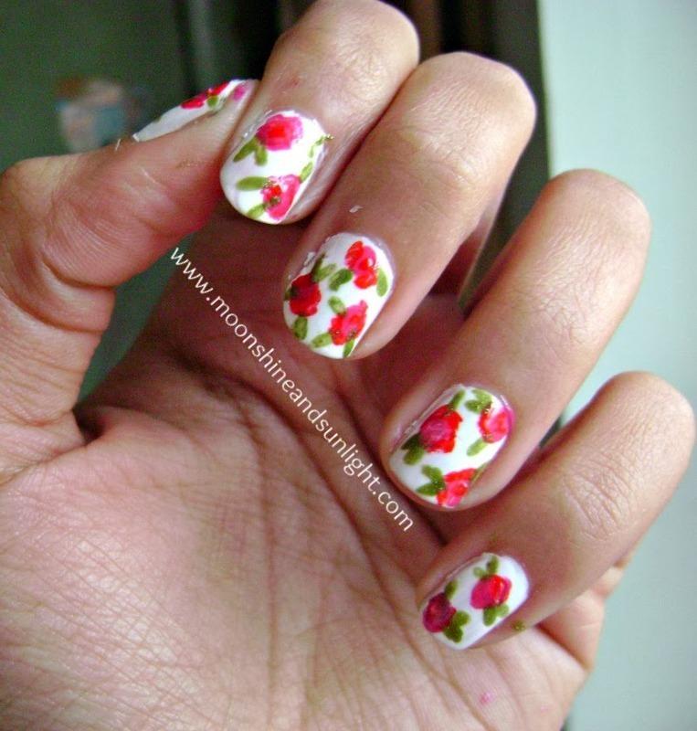 Spring flowers nail art by Priyanjana Roy