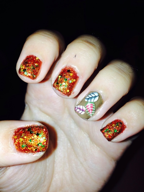 Fall Leaves nail art by Snowwhitequ33n