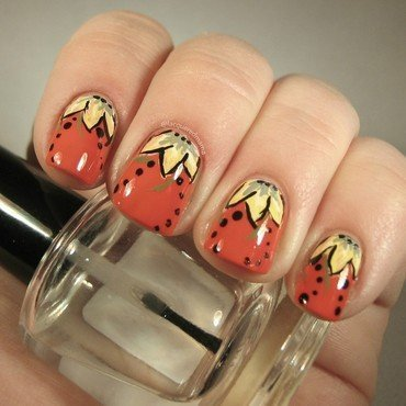 Flowers or Strawberries? nail art by Jennifer Collins