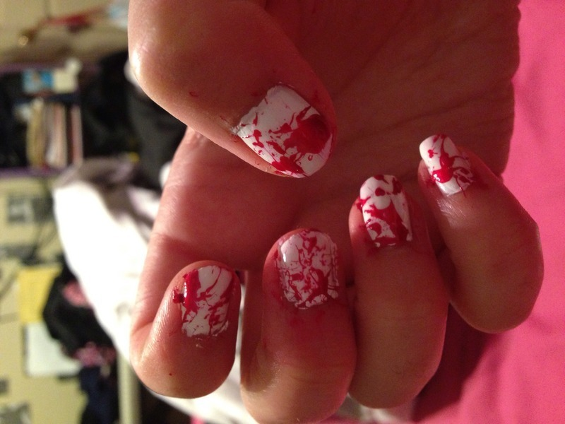 Blood Spatter nail art by Snowwhitequ33n