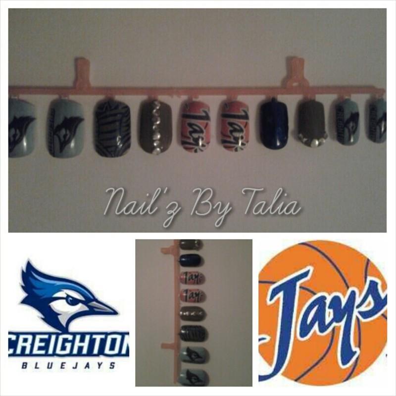 Creighton's March Madness nail art by taliatatztips