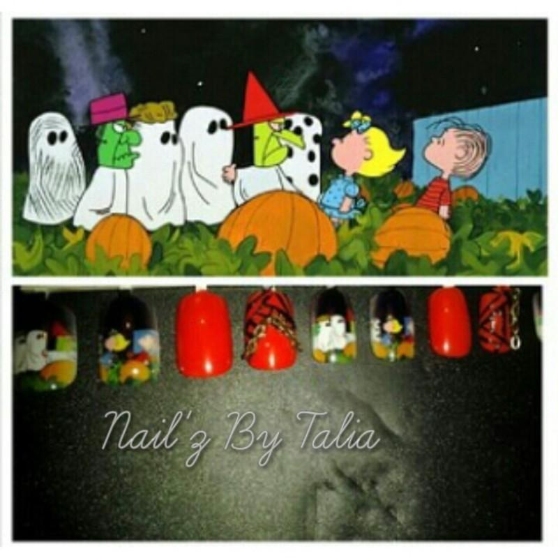 It's the great pumpkin Charlie Brown nail art by taliatatztips