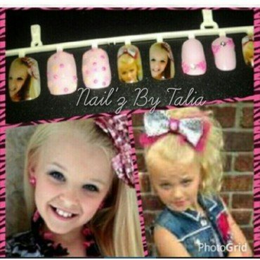 Lil Miss JoJo with the Bow Bow nail art by taliatatztips