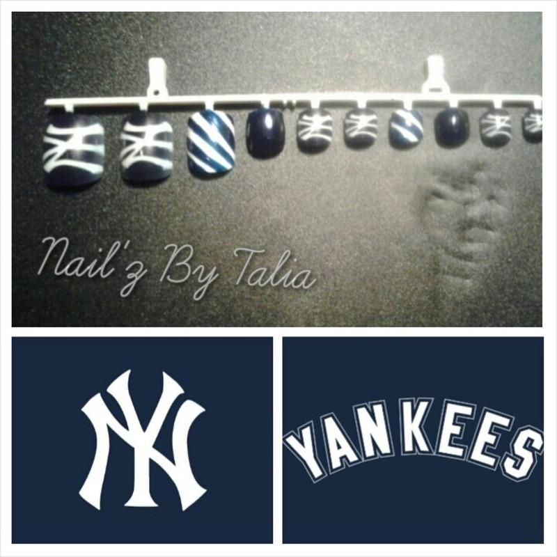 Show your Yankee spirit nail art by taliatatztips