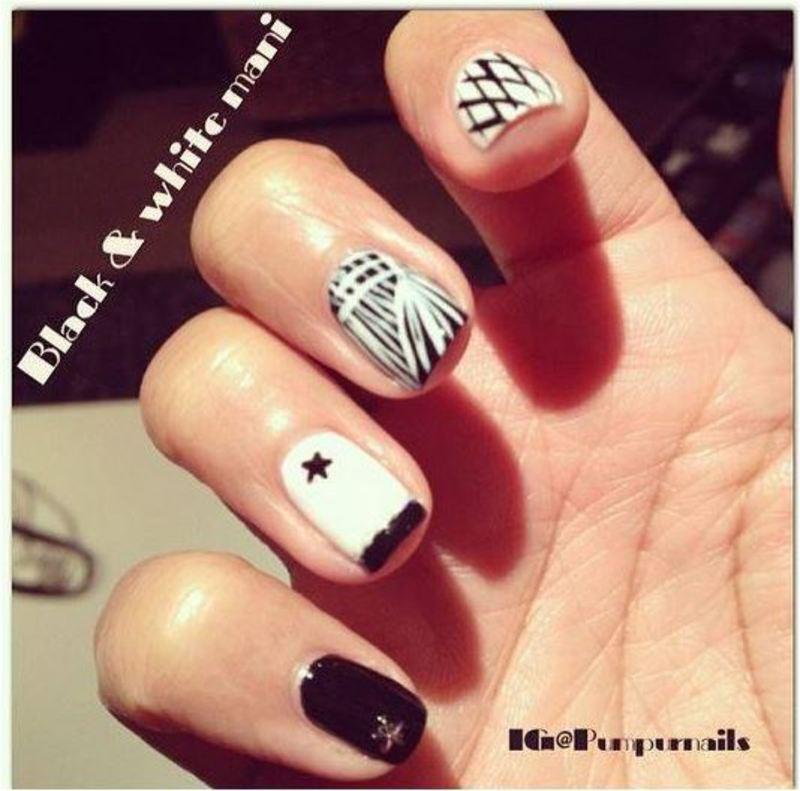 Black & white mani nail art by PumpUrNails by Chrisblackpink