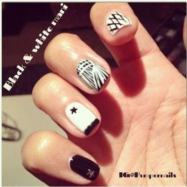 Black & white mani nail art by PumpUrNails by Chrisblackpink