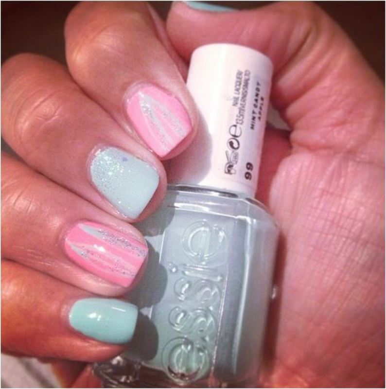 Soft spring mani (pinky & mint) nail art by PumpUrNails by Chrisblackpink