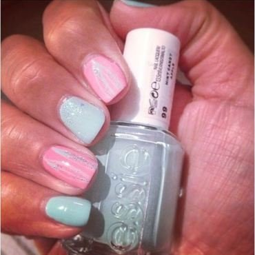 Soft spring mani (pinky & mint) nail art by PumpUrNails by Chrisblackpink