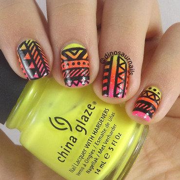 Neon Gradient Tribal nail art by  Vanesa