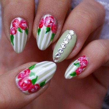 Spring flowers nail art by Angelika