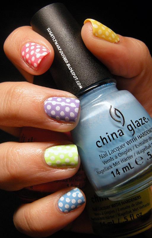 Pastel Polka Dots! nail art by Samantha Rae