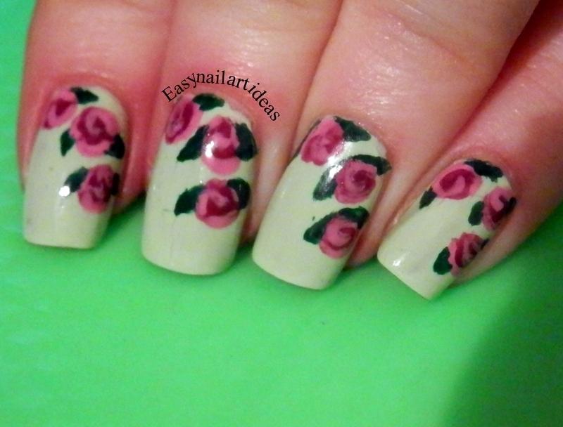 retro flowers nail art by Easynailartideas