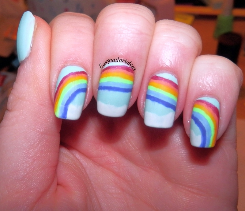 rainbow  nail art by Easynailartideas