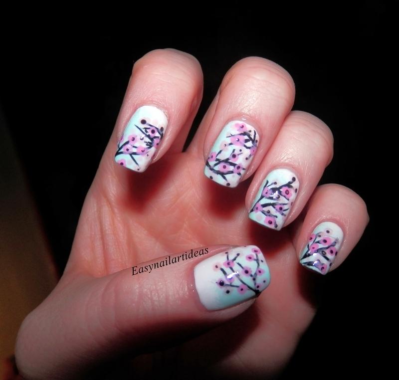 cherry blossom nail art by Easynailartideas
