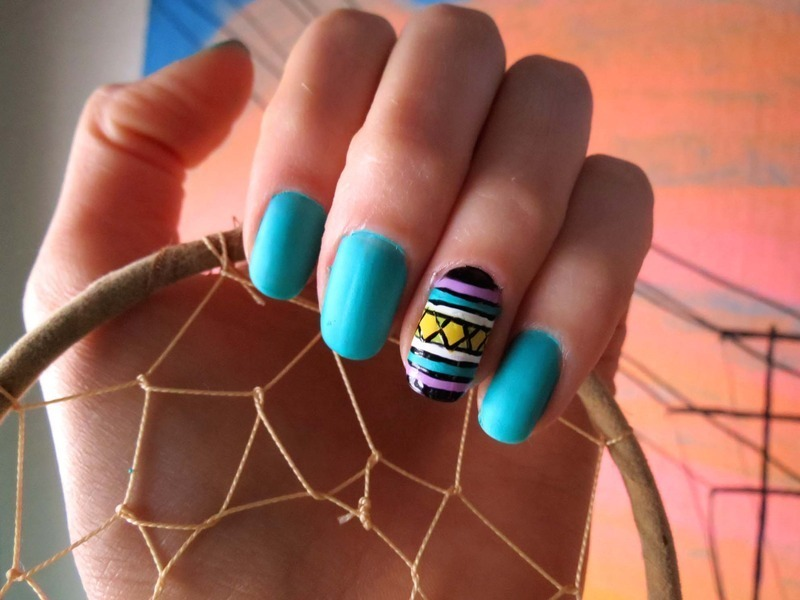 Turquoise and Tribal Patterns nail art by Jenna