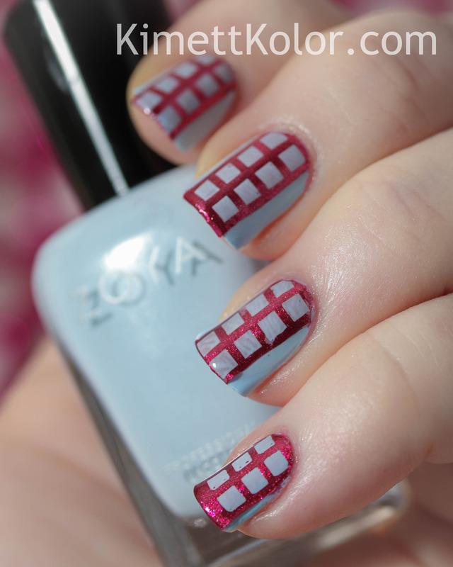 Four Squares for Fashion nail art by Kimett Kolor