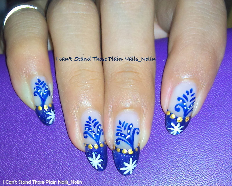 Blue Plant wiht Gold dots  nail art by Arnolin Modokh