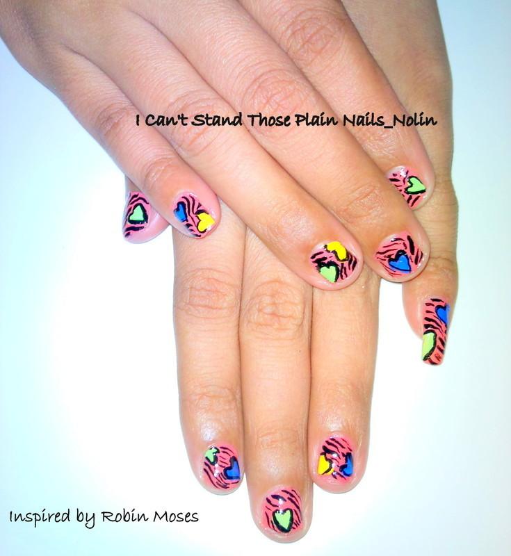 Zebra Print and Hearts nail art by Arnolin Modokh