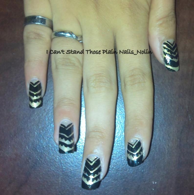 Black On Gold  nail art by Arnolin Modokh