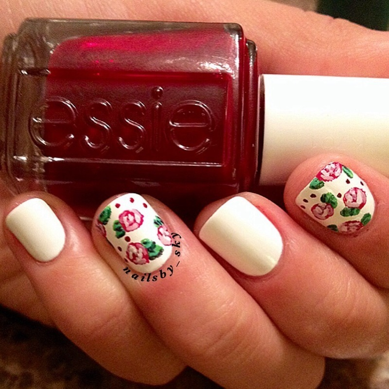 Roses nail art by Sky Williams
