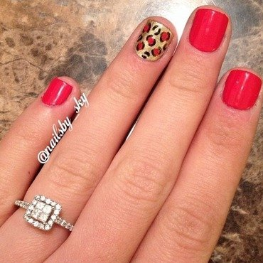 Red and Gold Leopard Print nail art by Sky Williams