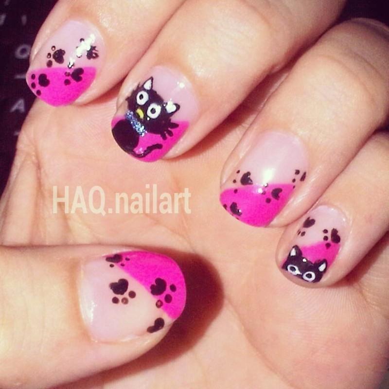 PINK CAT nail art by Haqnailart
