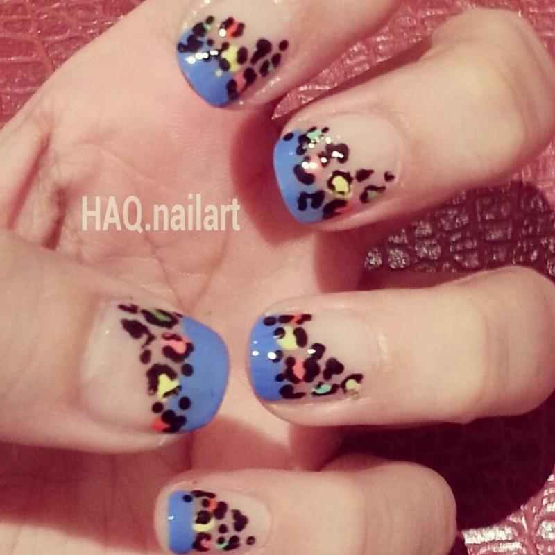 COLORFUL LIOPARD nail art by Haqnailart