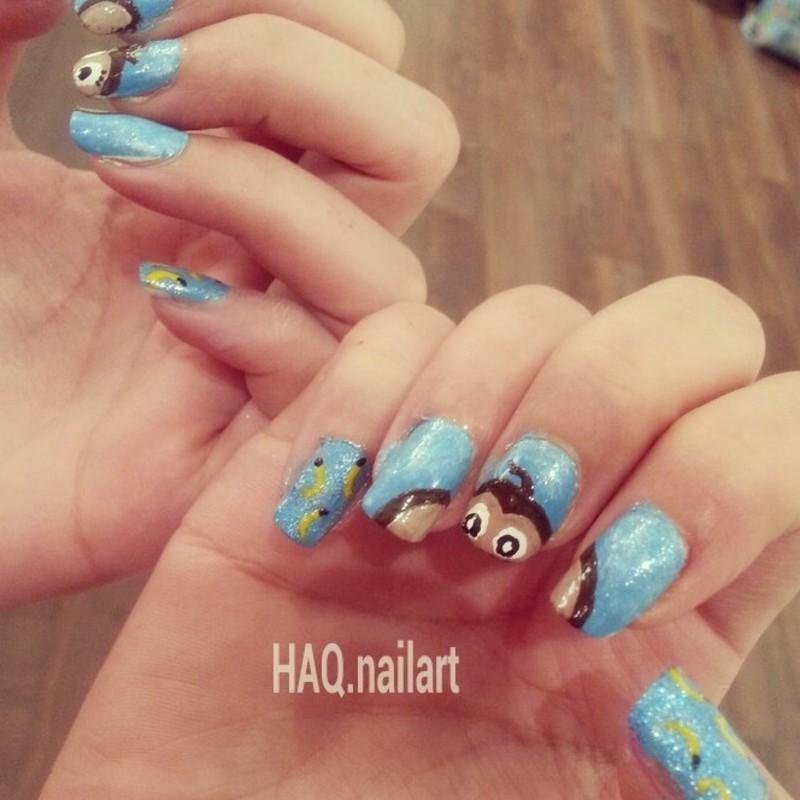 monkey nail art by Haqnailart