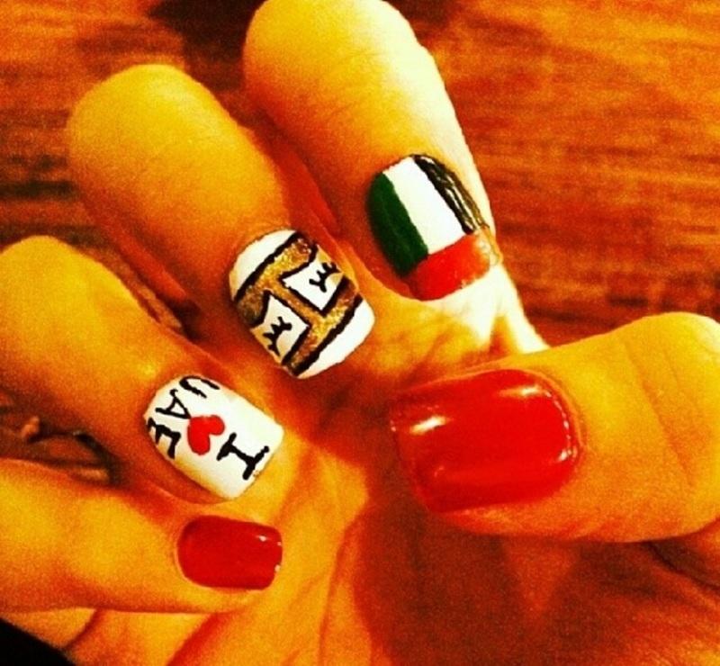 uae nationalday nail art by Haqnailart