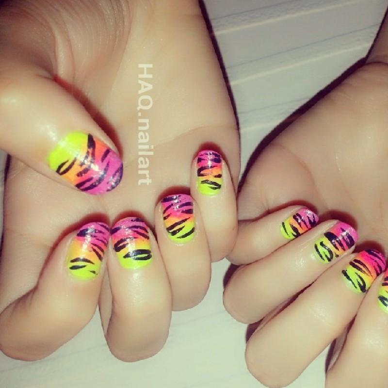 colorful zebra nail art by Haqnailart