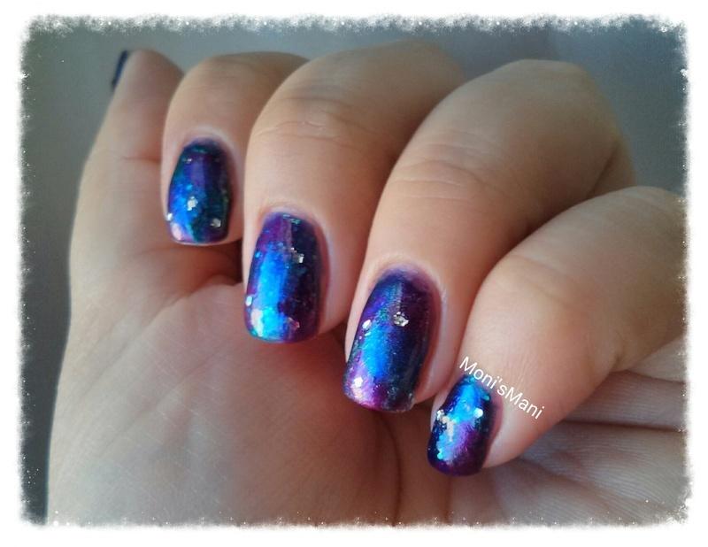 galaxy nails nail art by Moni'sMani