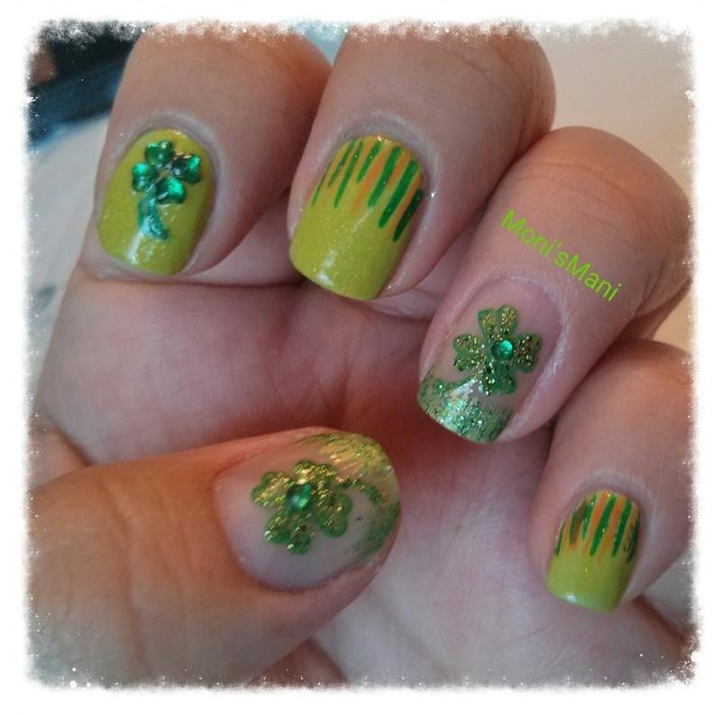 saint patty's mani nail art by Moni'sMani