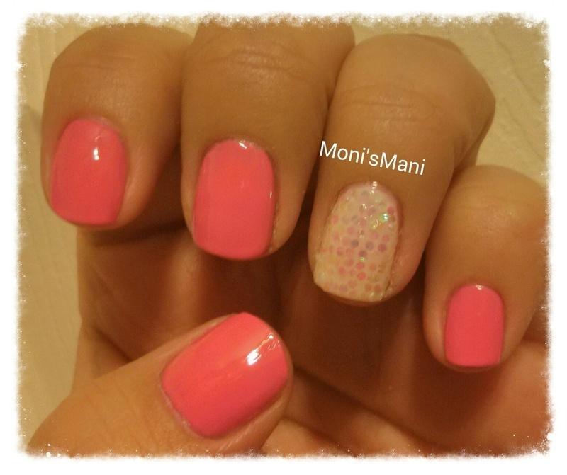simple pink mani nail art by Moni'sMani