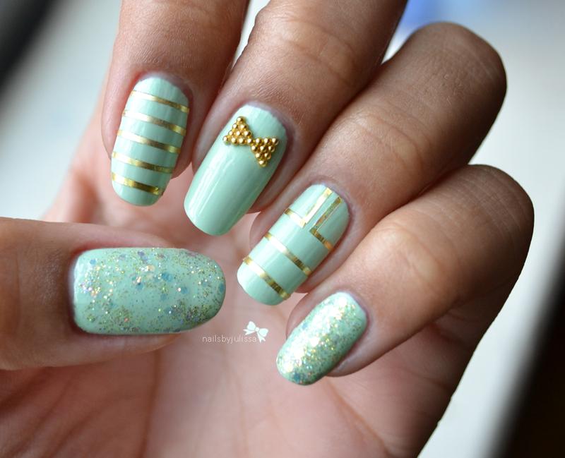 Classy Blues nail art by Julissa Lemoine