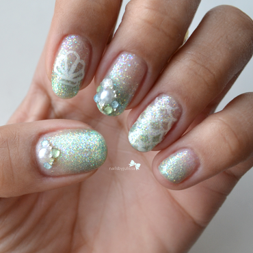 Mermaid Inspired  nail art by Julissa Lemoine
