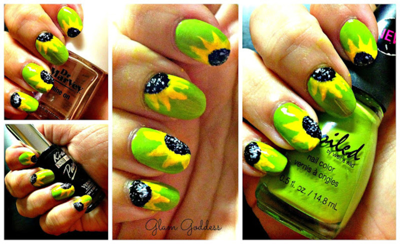 Sun Flower Nais nail art by Britney