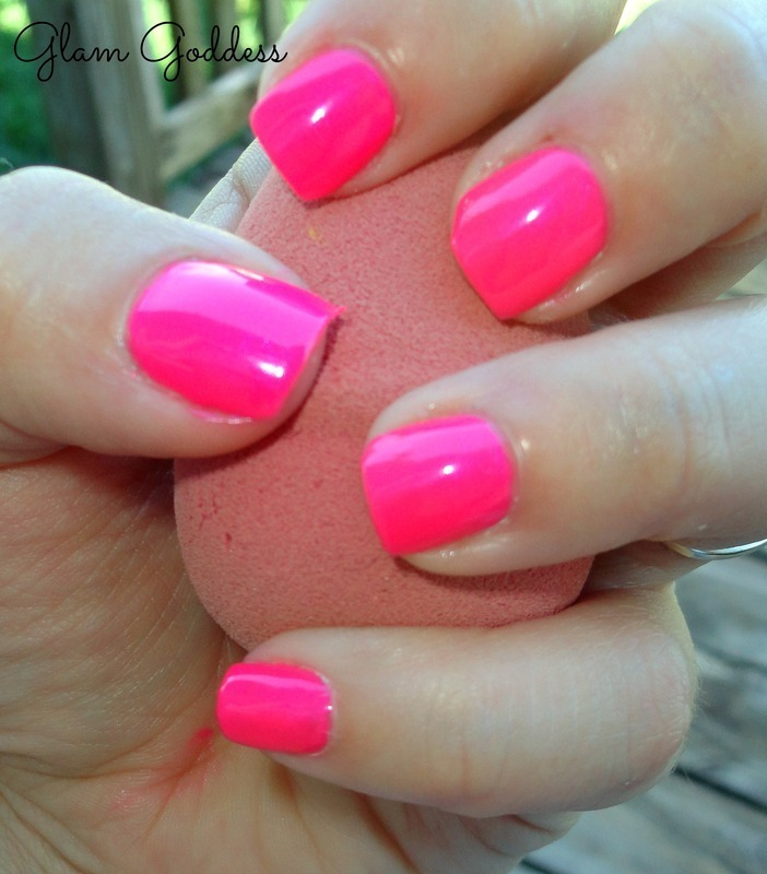 Hot Pink nail art by Britney