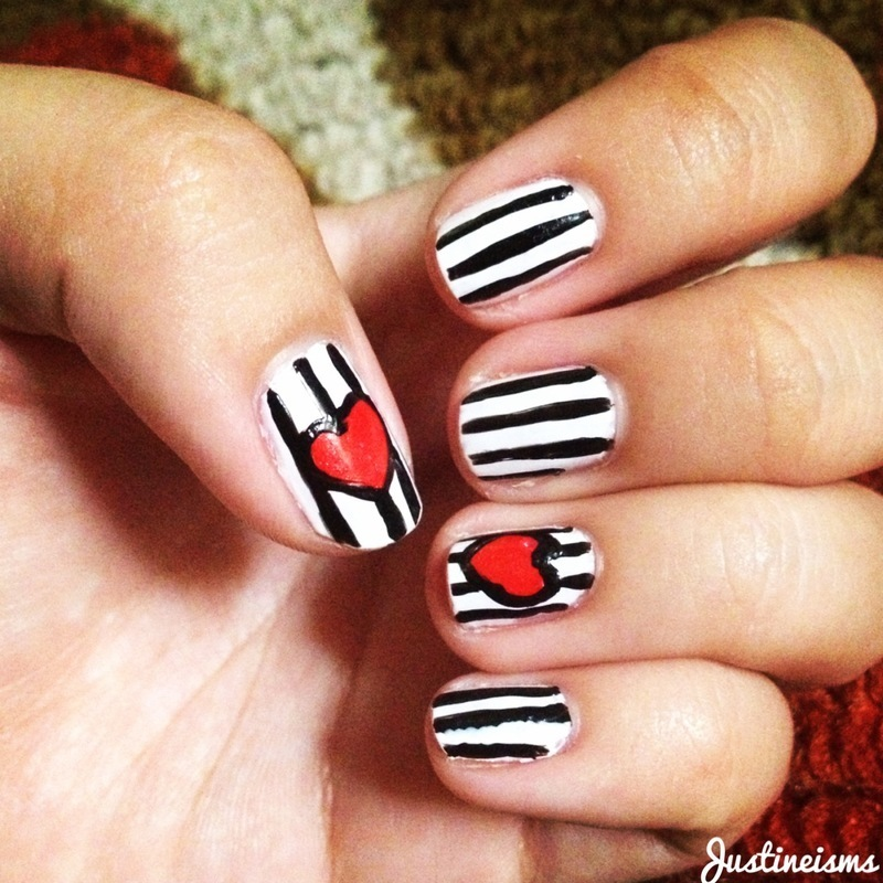 stripes with hearts nail art by ℐustine