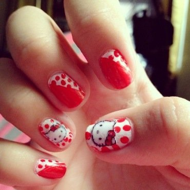 Hello Kitty nail art by ℐustine