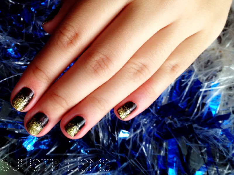 Black and Gold glitter tips nail art by ℐustine
