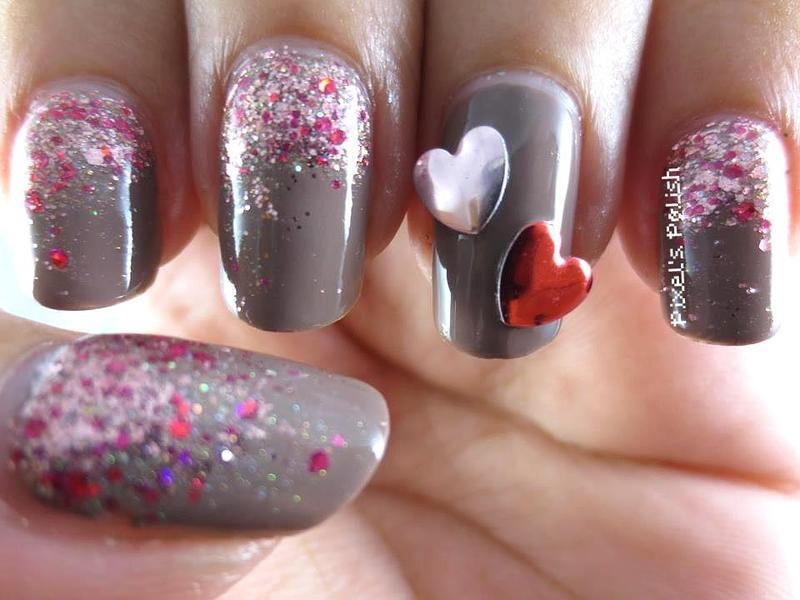 Chocolate Valentine nail art by Pixel's Polish