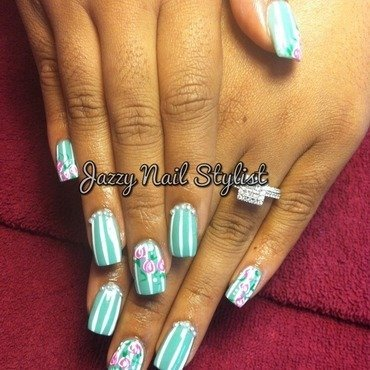 Pearly Spring  nail art by Jasmine