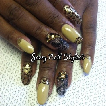Leopard and Lace  nail art by Jasmine