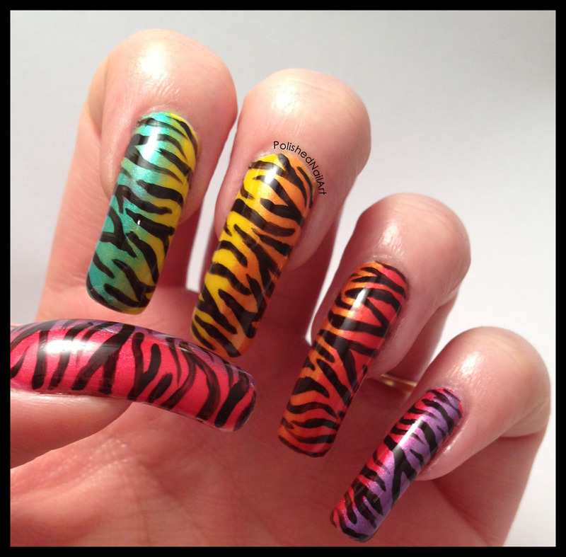 Neon tiger print nail art by Carrie