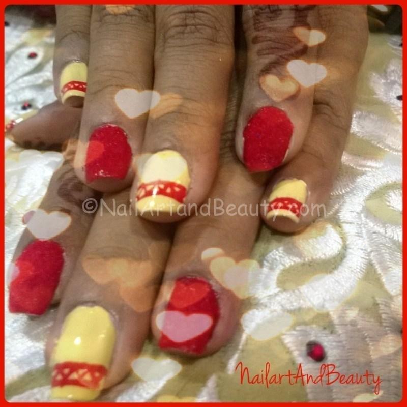 Velvet Festive Nail Art nail art by Setu Rohini