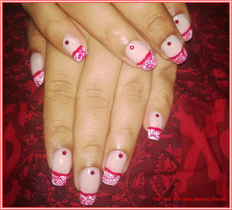 Elegant Red French Nail Art nail art by Setu Rohini