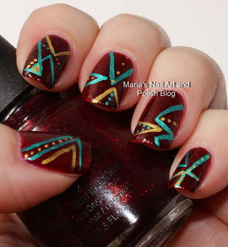 """Chevron Nail art nail art by Maria """"Maria's Nail Art and Polish Blog"""""""