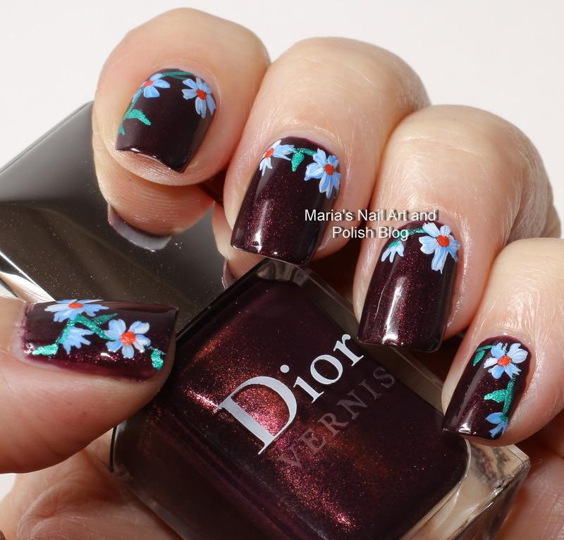 "Licorice flowers nail art by Maria ""Maria's Nail Art and Polish Blog"""
